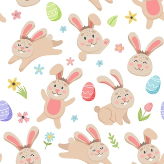 Easter spring pattern with cute bunnies, eggs, birds, bees, butterflies. hand drawn flat cartoon elements.