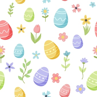 Easter spring pattern with cute eggs and flowers. hand drawn flat cartoon elements.