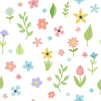 Easter spring pattern with cute flowers and leaves. hand drawn flat cartoon elements.