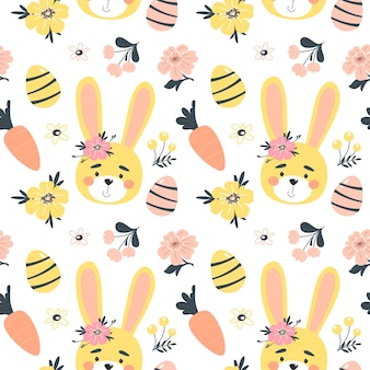 かわいいウサギ、卵、花とイースター春のシームレスなパターン。手描きのフラットな漫画の要素。図。