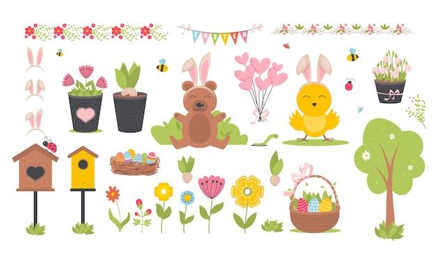 かわいい動物、鳥、蜂、蝶がセットされたイースター春。手描きのフラットな漫画の要素。