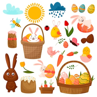 부활절 봄 귀여운 계란, 새, 식물, 토끼로 설정합니다. 부활절 케이크와 나비. 손으로 그린 만화.