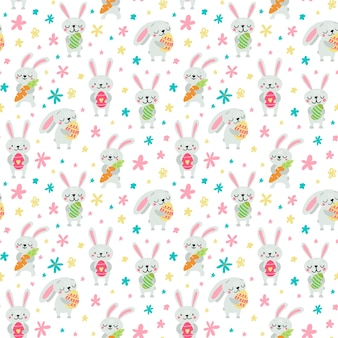 Easter style with rabbits, eggs and flowers in pastel colors seamless pattern illustration