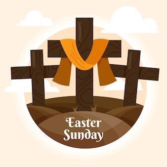 十字架のイースター日曜日のイラスト