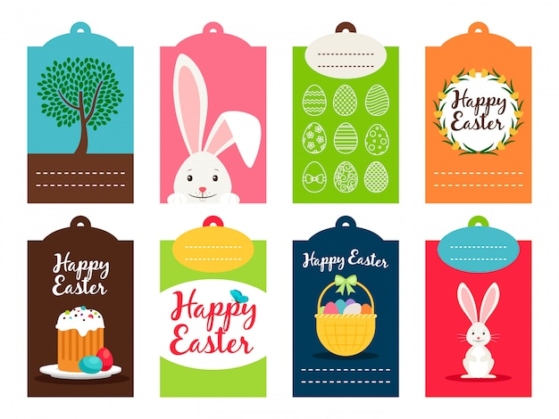 Easter tag collection vector illustration. ostern celebration labels isolated
