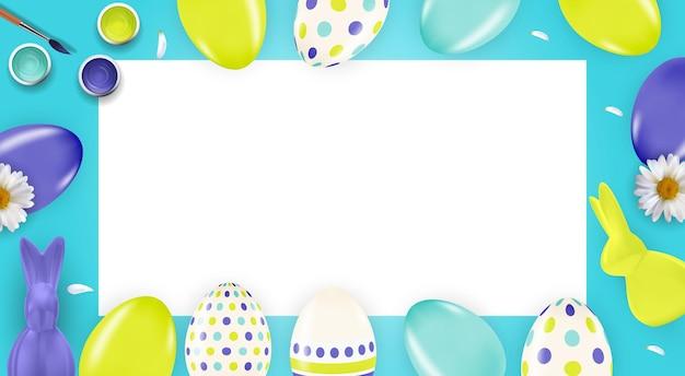 3d 현실 부활절 달걀과 페인트와 부활절 템플릿.