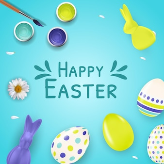 Easter template with 3d realistic easter eggs, bunny, paint and brush.
