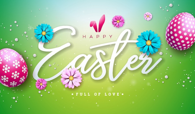 Easter text. floral design template with typography letter