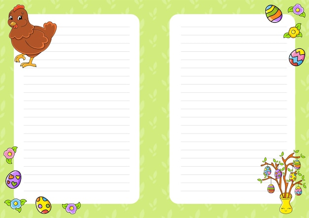 Easter theme. colored sheet template for notes.