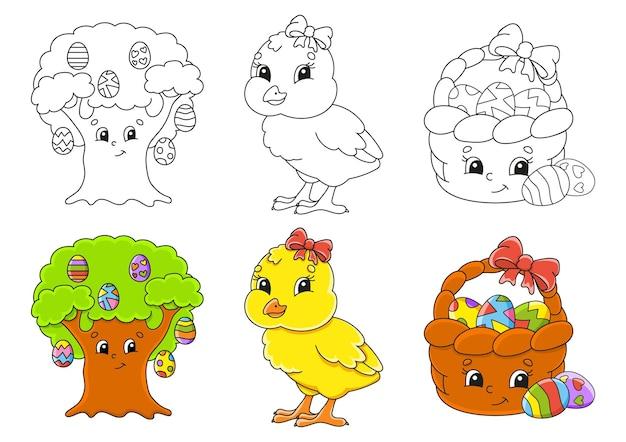 부활절 테마. 아이들을위한 색칠 페이지를 설정하십시오.