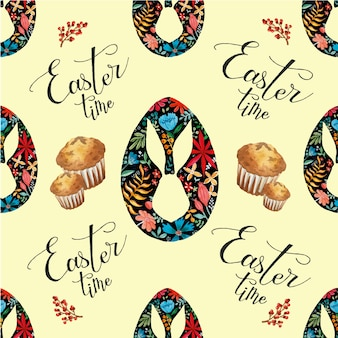 Easter time holiday seamless pattern watercolor eggs and muffins on light yellow background