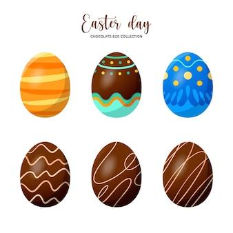 イースターの伝統的なチョコレートの卵のコレクション