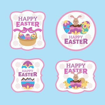 Easter traditional elements badge collection flat design