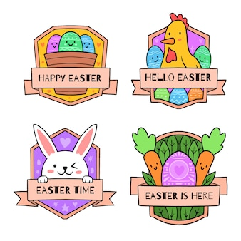 Easter traditional elements badge collection hand drawn