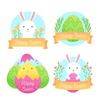 Easter traditional elements label collection flat design