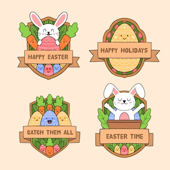 Easter traditional elements label collection hand drawn