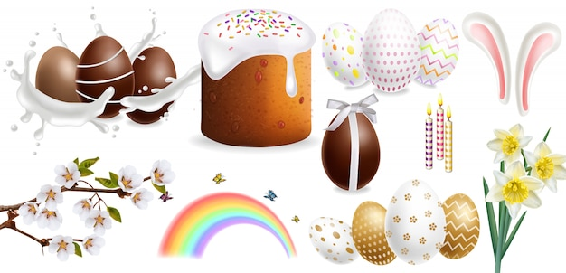 Easter traditional sweet bread and colorful eggs