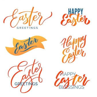 Easter typography set. modern calligraphy prints vector lettering, design elements.