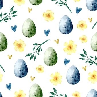 Винтажное пасхальное яйцо акварель бесшовный фон