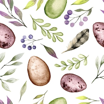 Easter watercolor seamless pattern with eggs and greenery, hand drawn   watercolor illustration.