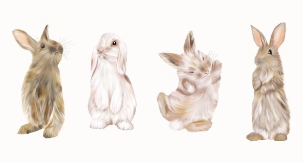 Easter white bunnies and brown rabbits. holidays