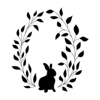 ウサギとイースター柳の花輪。楕円形の花の花輪。楕円形のフレームの黒いシルエット。ベクトルイラスト。イースターのデザイン、招待状、印刷