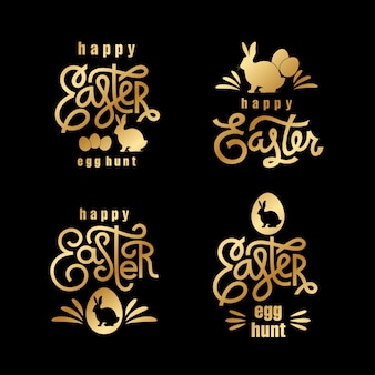 Easter wishes gold label set.