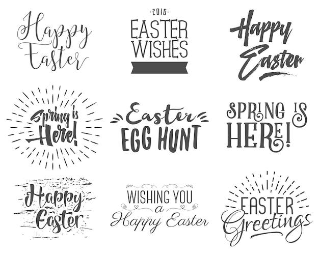 Easter wishes overlays, lettering labels design set. retro holiday easter badges