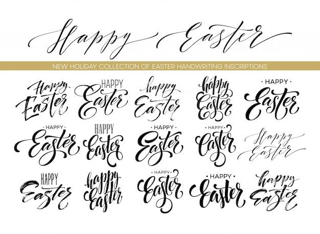 Easter wishes overlays, lettering labels design set.