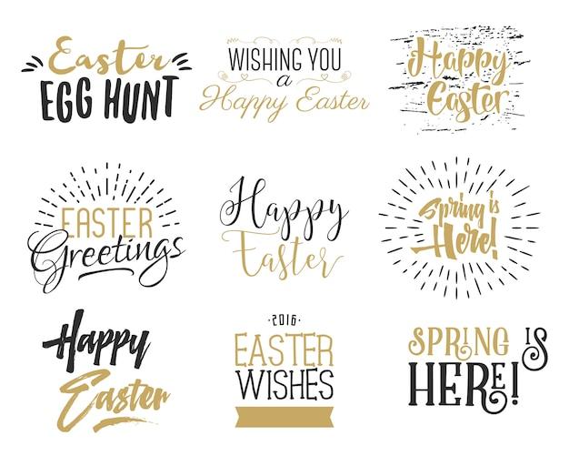 Easter wishes overlays, lettering labels set.