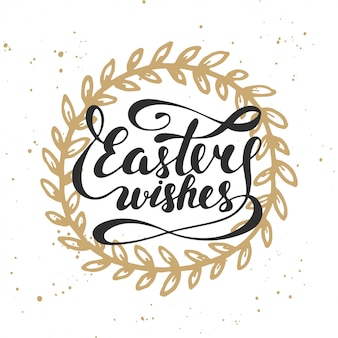 Easter wishes vector typography design elements