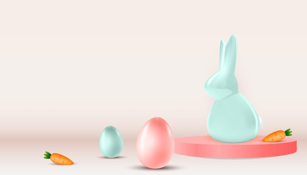 Пасха с реалистичными пасхальными яйцами, кроликом и морковью.