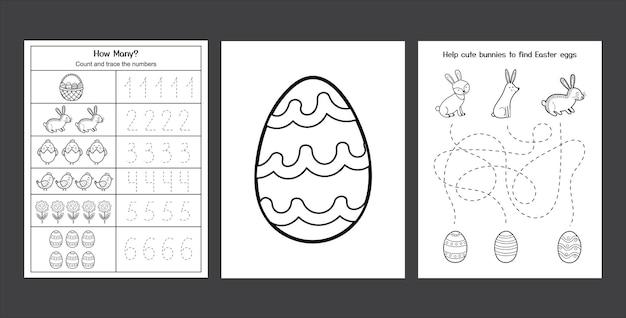 かわいいウサギとひよこがセットされたイースターワークシート子供のための黒と白の春のアクティビティページコレクションウサギと卵でページを着色イースターライティングの練習