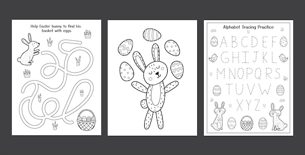 Easter worksheets set with cute bunnies black and white spring activity pages collection for kids coloring page with rabbit and eggs easter alphabet tracing