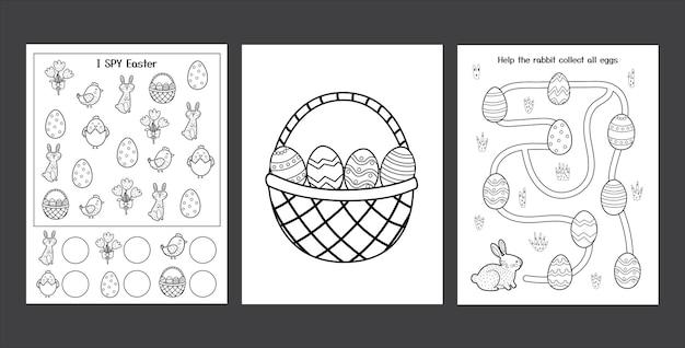귀여운 토끼로 설정된 부활절 워크 시트 어린이를위한 흑백 봄 활동 페이지 컬렉션 토끼와 계란으로 색칠 페이지 부활절 스파이 게임