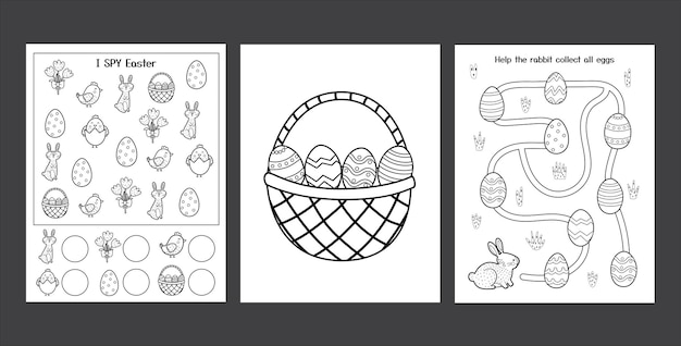 Easter worksheets set with cute bunny black and white spring activity pages collection for kids coloring page with rabbit and eggs easter i spy game