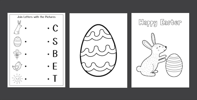 Easter worksheets set with cute bunny black and white spring activity pages collection for kids coloring page with rabbit and eggs easter matching game