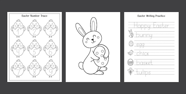 Easter worksheets set with cute bunny and chick black and white spring activity pages collection for kids coloring page with rabbit and eggs easter writing practice
