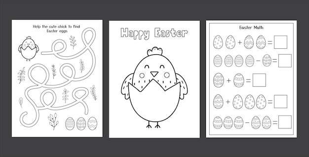 Easter worksheets set with cute chick and eggs black and white spring activity pages collection for kids coloring pages easter math maze puzzle