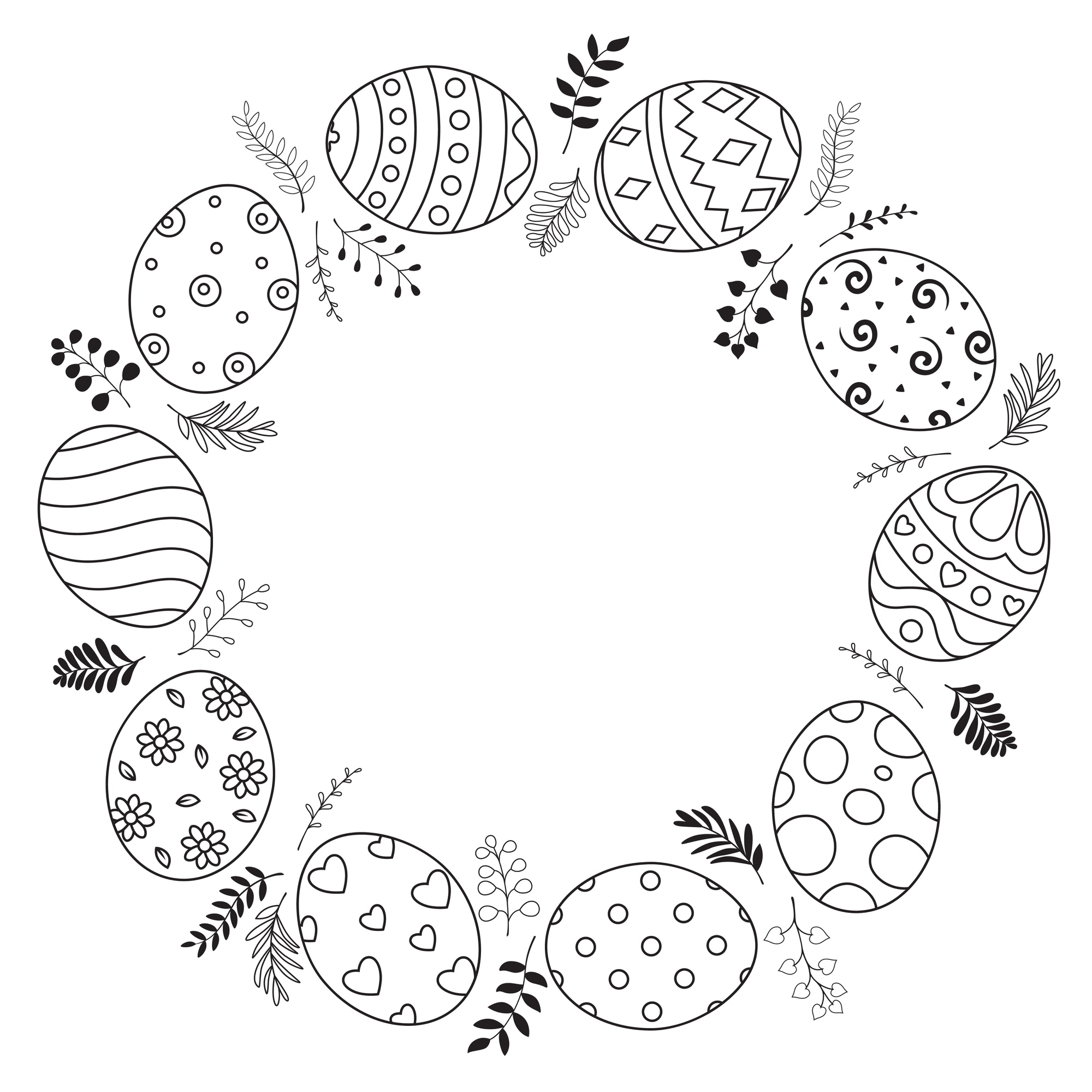 Easter wreath with easter eggs hand drawn