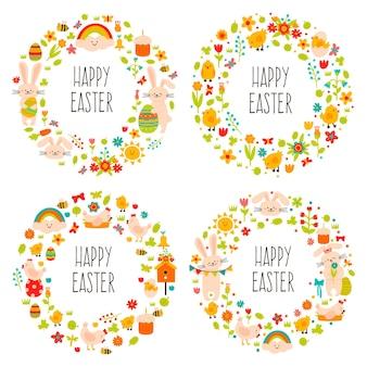イースターリース。かわいい落書き春の装飾、春の卵、ウサギ、花と花輪