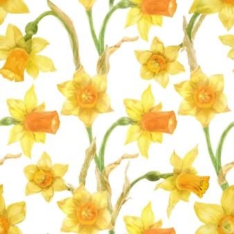 Easter yellow daffodil seamless pattern