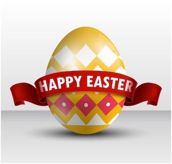 Пасхальное желтое яйцо с красной лентой на белом фоне