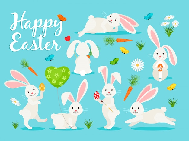 Eastern bunny vector illustration. happy rabbit for easter collection