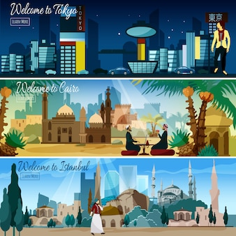 Eastern cityscape 3 flat banners set