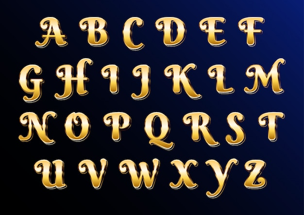 Eastern gold classic elegant alphabet with letters