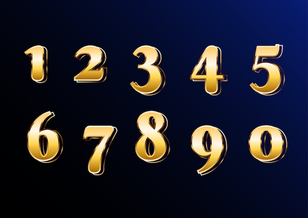 Eastern gold classic elegant number set