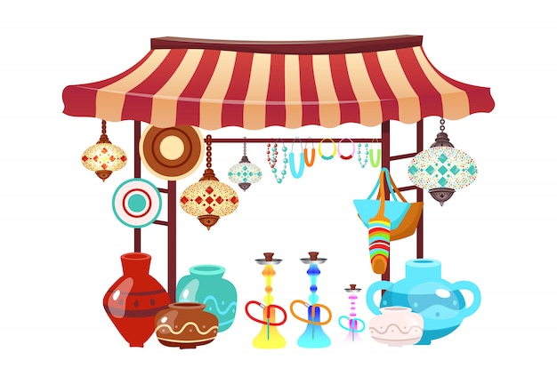 Eastern market tent with handcrafted souvenirs cartoon illustration. oriental bazaar awning with hookahs, handmade accessories flat object. african, turkish marketplace stall isolated on white