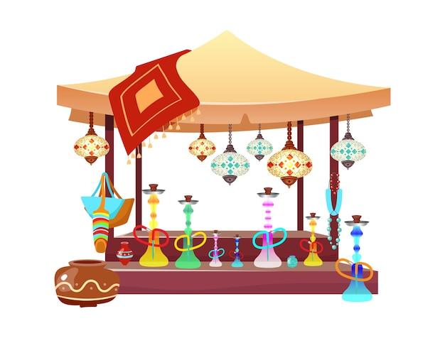 Восточная рыночная палатка с иллюстрацией шаржа кальянов. восточный базар навес с кальяном, аксессуары ручной работы и сувениры плоский цветной объект. египет, стамбульский рыночный прилавок, изолированные на белом фоне