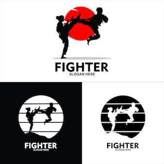 Плоская композиция восточных боевых искусств с персонажами спортсменов мужского и женского пола